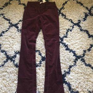 Loft burgundy corduroy curvy fit pants size 25/0T